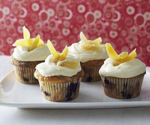 Blueberry Ginger Cupcakes with Honeyed Mascarpone Frosting