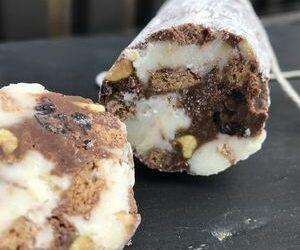 Marbled Chocolate Salami Cookies