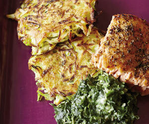 Celery Root-Leek Cakes, Creamy Spinach and Salmon