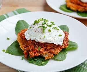 Quinoa Cakes with Roasted Red Pepper and Walnut Pesto, Goat Cheese and a Poached Egg recipes